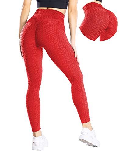 MANIFIQUE Anti-Cellulite Yogahosen Damen Gym Leggings Hohe Taille Sporthose Blickdicht Fitnesshose Sport Tights für Training Push Up Streetwear mit Bauchkontrolle Rot