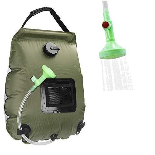 KIPIDA Solardusche Outdoor, 20L Campingdusche Solar Wassersack Heizung Camping Dusche Tasche mit Duschkopf Gartendusche Pooldusche Warmwasser Shower, Outdoor Camping Wandern Wassersack zum Faltbar