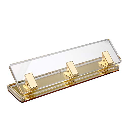 EXPUTRAN Acrylic and Gold Standard 3 Hole Punch ,10 Sheet Capacity, Desktop Hole Puncher 3 Ring, Office Desktop Accessory,Clear/Gold
