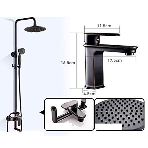 Discover Bargain LJQHS Black Shower Set, All Copper Shower, Nordic Bathroom Toilet Set, Hotel Househ...