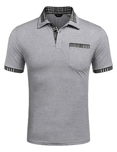 COOFANDY Poloshirt Herren Polohemd Golf Polo Kurzarm Slim Fit Baumwolle Plaid Kragen Sport Sportstil Gray XXL