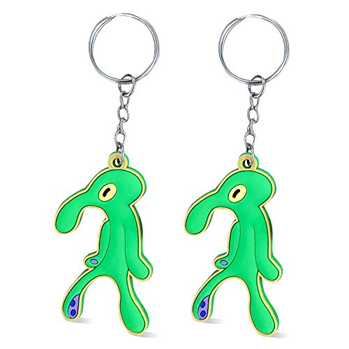 CARRYFUTURE 2PCS Cute keychains Funny Pvc Cartoon Meme Car Keys Decoration Green Squidward Key Chains Ring Creative Christmas Gift New Year Birthday Party Favor Supply