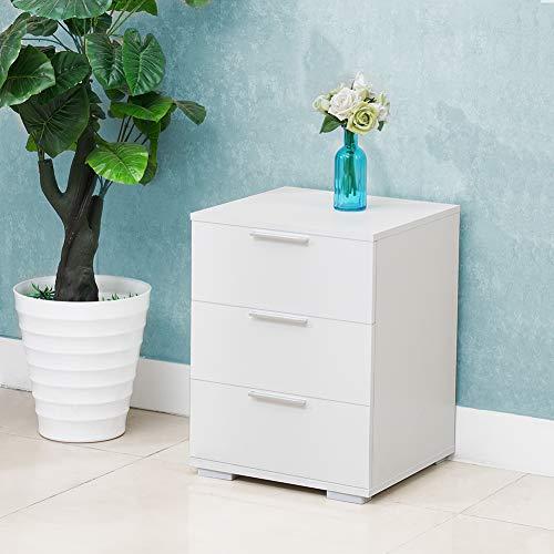 CLIPOP comodino bianco con 3 cassetti, cassettiera con 3 cassetti, tavolino per casa e ufficio (46 x 42 x 60 cm)