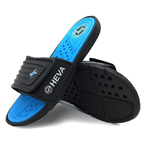 HEVA Slide Badeschuhe Herren Sommer Sandalen (45 EU Schwarz/Blau)