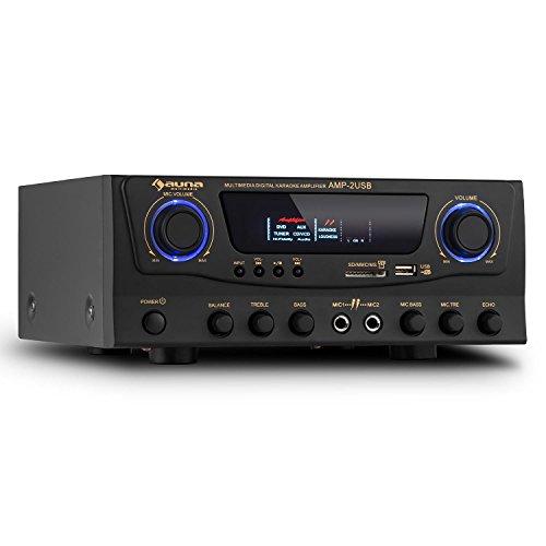 auna Amp-2 HiFi Amplificador Karaoke (100W potencia máx, entrada USB, SD, MP3, RCA, 2x entrada micrófono, control volumen individual, efecto eco, conexión compatible TV, DVD, consola...)