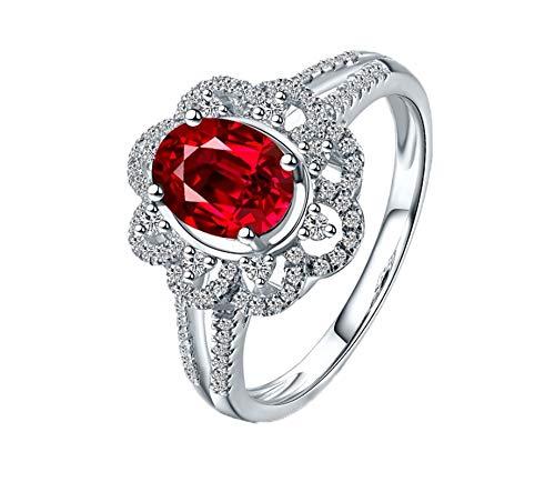 Ubestlove Ruby Eternity Rings For Women Wedding Band Anniversary Ring Oval Ring I 1/2 New Mum Xmas Gifts
