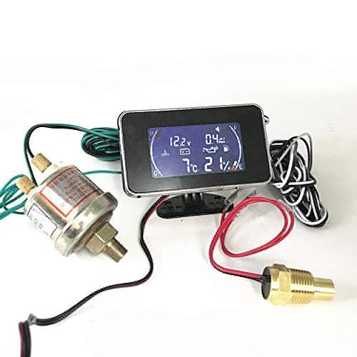 OYWNF Temperatura del Agua Indicador de Combustible Manómetro de Aceite Medidor 4en1 Coche LCD Digital de presión Tensión Fuel Oil multifunción Piezas de Repuesto