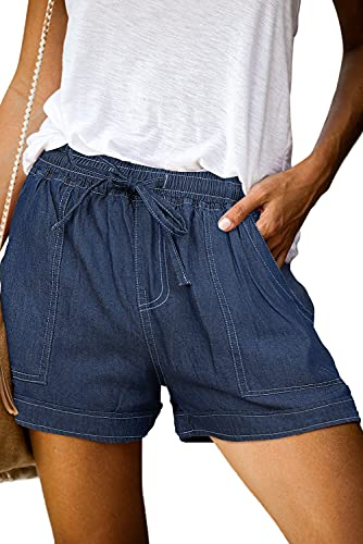 ONLYSHE Womens Ladies Frayed Raw Hem Tencel Drawstring Casual Elastic Waist Denim Jean Shorts for Girl with Pockets Dark Blue-L