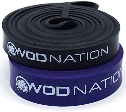 Pull up Assistance Band Set by WOD Nation - Best for Pullup Assist, Chin Ups, Resistance Band Exercise, Stretch, Mobility Work & Serious Fitness - Set of 41 inch Straps   1 Black 1 Purple