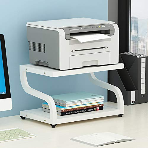 PUNCIA Office Desktop-Laser-Multifunktionsdrucker Kopierer Scanner Regalständer Rack mit Anti-Rutsch-Pads für Desktop-Organizer Ablagefach Doppelstock für Mikrowellen-Topfpflanzen (Braun),