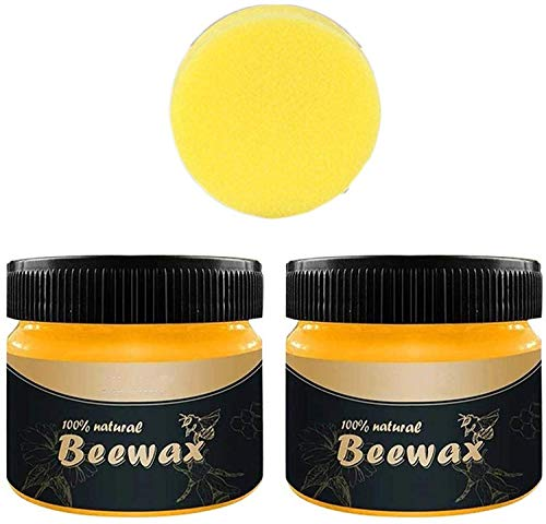Wood Seasoning Beeswax,Beeswax Furniture Polish Complete Solution Furniture Care Renew Cutting Boards, Woods, Bamboo, Wooden Surface Beeswax Home Cleaning (2PCS)