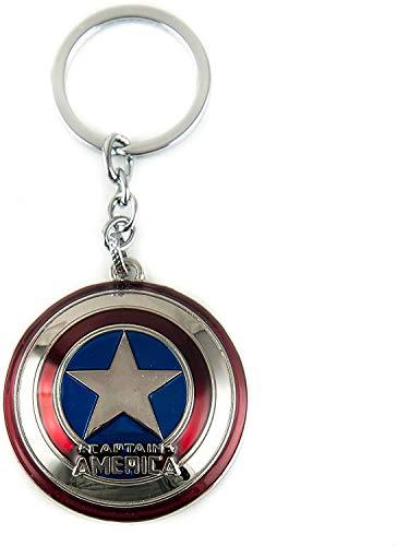 Llavero del escudo del Capitán América, accesorios de joyería (anillo de metal con cuerdas adjuntas) (plata)