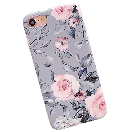 YeLoveHaw iPhone SE 2020 Case, iPhone 8 Case, iPhone 7 Case for Girls, Flexible Soft Slim Fit, Floral and Purple & Gray Leaves Pattern Cute Phone Case for iPhone8   iPhone7   iPhoneSE (Pink Flowers)