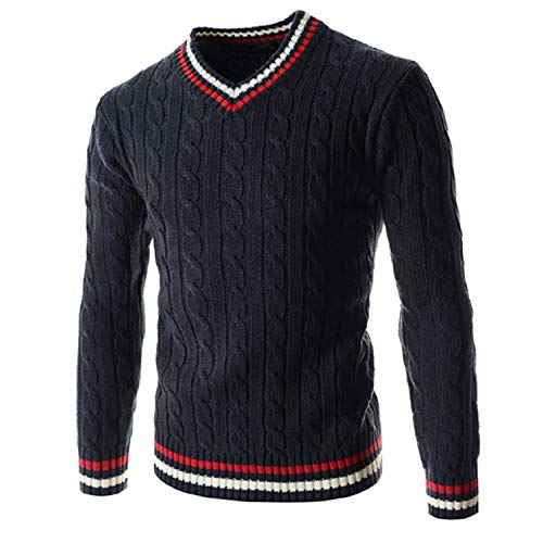 New Men's Winter Cotton Long Sleeve V-Neck Pullover/Youth Slim Joker Simple Boutique Contrast Knit Knit Sweater Azul Marino XXL