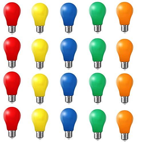 20er Pack Farbige Glühbirnen LED 2W E27Beleuchtung Glühbirnen, 220V AC LED Leuchtmittel BirnenforM, Gemischte Farben Rot Grün Blau Orange Gelb