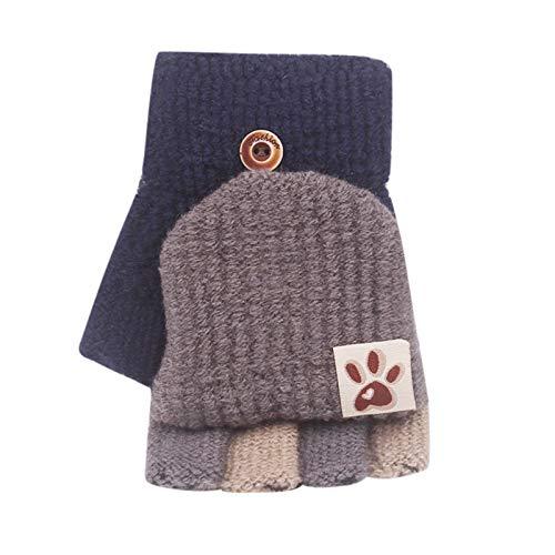 Geilisungren Unisex Kinder Weiche Strickhandschuhe Kinder Baby Winter Warm Niedlich Mehrfarbige Handschuhe Halbe Fingerlose Handschuhe Fäustlinge für 2-8 Jahre
