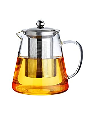 Tounuta 950ml/32.8oz Glass Teapot With Removable Infuser Stovetop Safe for Blooming And Loose Leaf Teapots