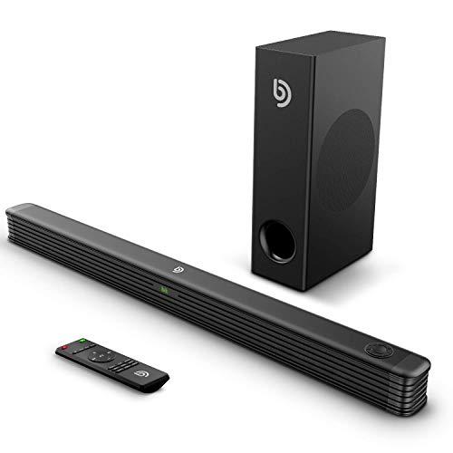 Soundbar mit Wireless Subwoofer 2.1 Kanal,BOMAKER 150W Bluetooth 5.0 DSP Technologie Tiefe Bass Lautsprecher mit AUX,USB,Koaxiale,Optischer Anschluss für TV,Heimkino,Party-Schwarz