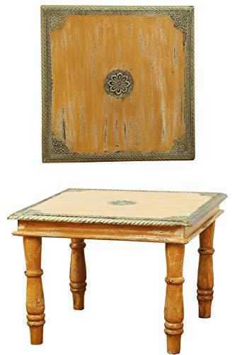 Orientalischer Couchtisch Beistelltisch Anjay 55cm Groß | Vintage kleiner Tisch aus Holz massiv mit Messing verziert für Ihre Wohnzimmer | Niedriger Marokkanischer Sofatisch Wohnzimmertisch Orange