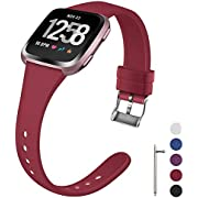 Coperr Band Compatible with Fitbit Versa/Fitbit Versa 2/Fitbit Versa Lite for Women Men, Narrow Slim Soft Silicone Replacement Wristband for Fitbit Versa Smart Watch with Buckle Design