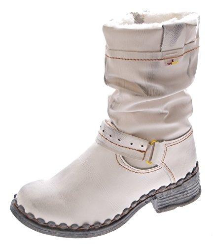 TMA Damen Winter Stiefel echt Leder gefüttert Stiefeletten TMA 5005 Schuhe Weiß Boots Gr. 39