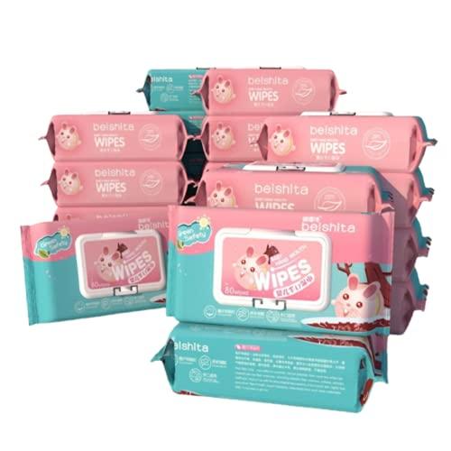 N\C 10 Paquetes de toallitas húmedas para bebés con pañuelos Cubiertos, Que se utilizan para Las Manos, la Boca y Las toallitas bucales del bebé, para Limpiar, desmaquillar, en húmedo y en seco