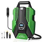 Sunvook Tyre Inflator, Air Compressor Digital Car Tyre Pump 12V 120W 150PSI Digital Tyre Inflator with Larger Air Flow 3 Nozzle Adaptors LED Light for Car SUV Basketballs Inflatables Bicycles (Green)