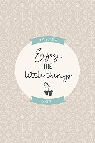 """Agenda 2020 """"Enjoy the little things"""": Preciosa agenda para el año 2020 con bonito diseño interior, planificador mensual y semanal, tapa blanda mate marrón azul verde crema."""