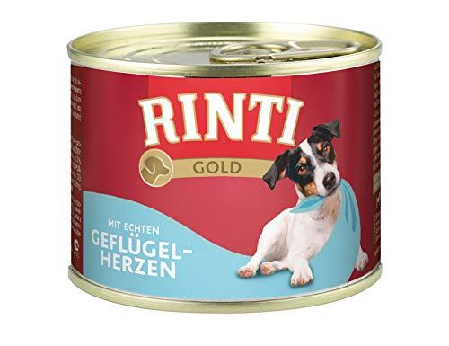 Rinti Gold Nourriture pour Chien Volaille cœurs 185 g, Pack de 12 (12 x 185 g)
