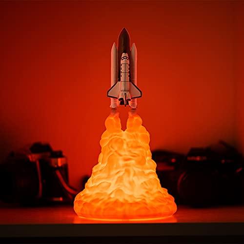 QQAA Lámpara de cohete Art Deco Lampe, estilo steampunk, lámpara de mesita de noche Bazooka llamas, luz nocturna, lámpara espacial para casa, oficina, decoración, regalos únicos, forma extraña