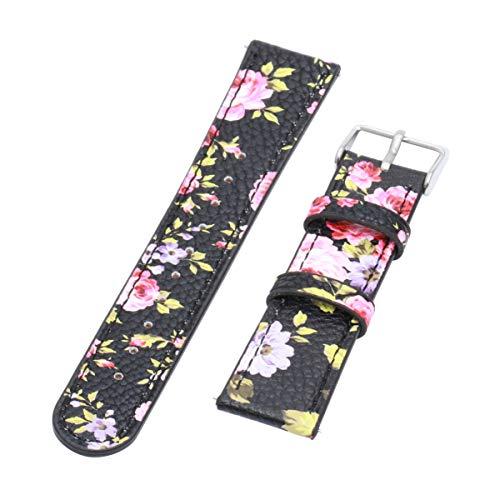 UKCOCO Correa para Fitbit Versa, Ultra Delgada Banda de Cuero Floral Impresa Accesorios de Pulsera de Repuesto con Hebilla de Metal para Fitbit Versa Smarwatch Mujeres niñas (UNA)