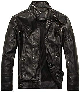 HAWEEL Men Plus Velvet Fashion Leather Jacket Motorcycle Coat Windbreaker Jacket