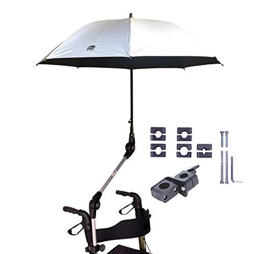 Orig. MPB® rolgordijnscherm 99 SI (geschikt voor 99% van alle rollatoren!), paraplu en parasol bruikbaar, zilver, parapluhouder met 2 verstelscharnieren, microvezelscherm, incl. parapluhoes.
