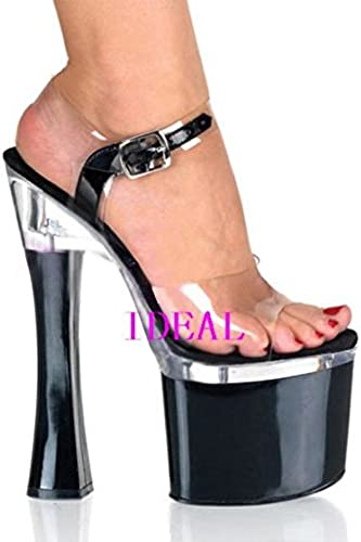 GaoXiao 18 20 centimètres de Talon Haut rendement Chaussures Chaussures Sandales Night Shop Transparent