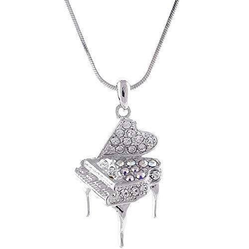 ARITZI – Collier de bijouterie avec avec bain de rhodium avec pendentif en verre - Chaîne de queue de souris de 40 cm - PIANO