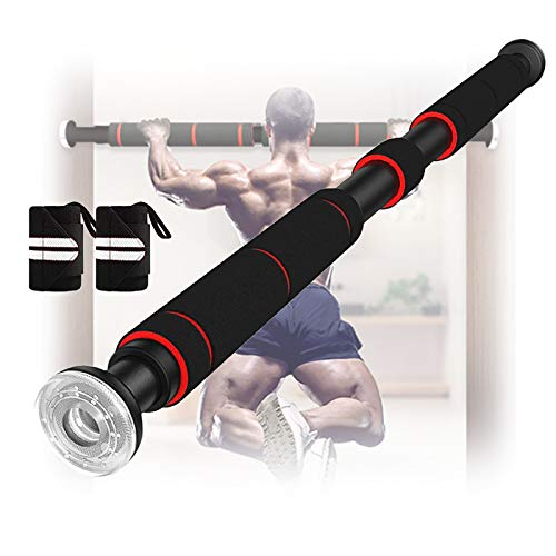 Pull Up Bar for Doorway Multifunctional Chin Up Bar with Adjustable Hand Grips Sit Up/Push Up Bar Stretching Equipment Strengthened Thickened 26 to 36 Inches, with 1 Pair of Bracers