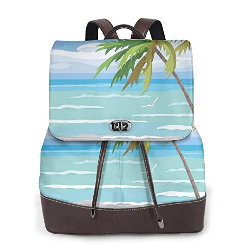 Women's Leather Backpack,Summer Coast In The Wind with Palm Trees Cloudy Sky and Flying Seagull Image,School Travel Girls Ladies Rucksack