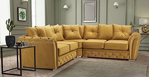 HHI - Luxurious Modern Mustard Corner Sofa - corner sofas for living room - sofas & couches - Plush sofa - Corner Sofas For Living room sale UK Main land