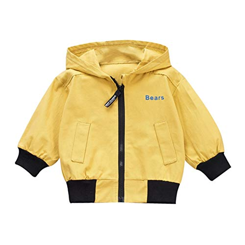 Baby Boy (0-5T) Outerwear Letters Cotton Print casual hoodie Zipper sweatshirt kinderen mantel outfits tops, 80, geel