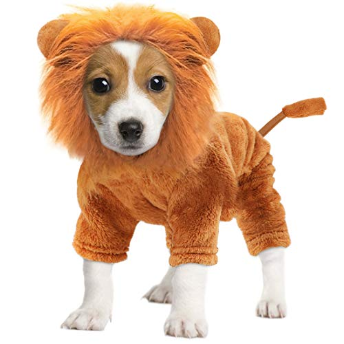 Idepet Pet Costume,Halloween Dog Cosplay Lion Costume Christmas Puppy Small Dog Funny Cosplay...