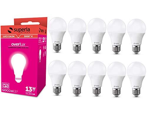 Superia Lampadina LED E27 Goccia, 13W (Equivalenti 75W), Luce Calda 3000K, 1230 lumen, OP13GC, Pacco da 10