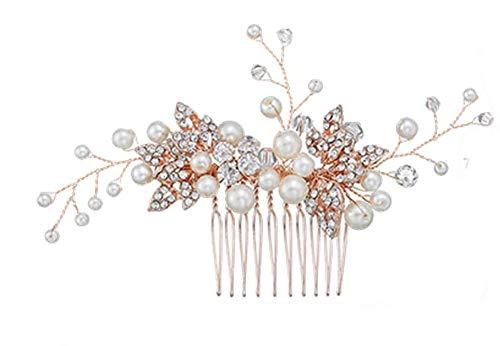 Damen Haarschmuck Haardekoration Haarnadel Haargesteck Haarkamm Haarkämme Braut Hochzeit Schmuck Accessoires Perlen Haarkamm Diadem Kristallen Perlen Design Schmuck edel (Modell 2)