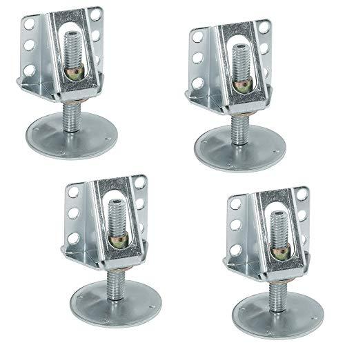 Gedotec Möbelfuss robust Sockel-Höhenversteller stabil Sockelfüße Küche mit Anschraubwinkel | Verstellschraube M12 x 65 mm | Tragkraft 200 kg | Verstellfüße Stahl verzinkt | 4 Stück - Fuß mit Winkel