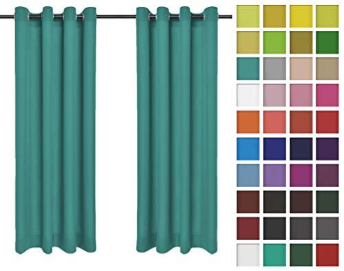 Rollmayer Vorhänge Schal mit Ösen Kollektion Vivid (Türkis 17, 135x240 cm - BxH) Blickdicht Uni einfarbig Gardinen Schal für Schlafzimmer Kinderzimmer Wohnzimmer