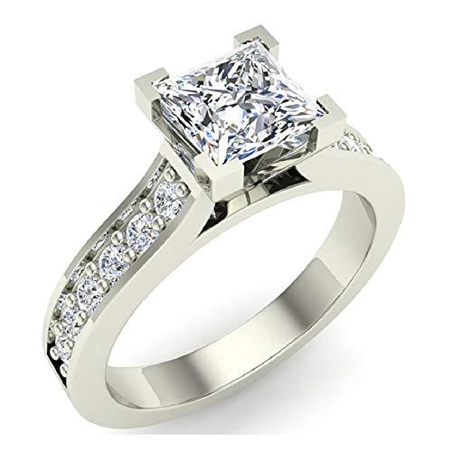 Glitz Design Mujer Niños Hombre Unisex oro 14 quilates (585) oro blanco talla princesa redonda H-I Diamond
