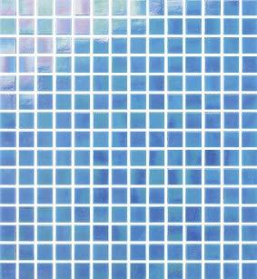 Cottoceram, Mod. Himmelblau Schillerndes Glasmosaik in 2 x 2 cm. Maschenweite: 30 x 30 cm. für Pool, Bäder oder Dekorationen