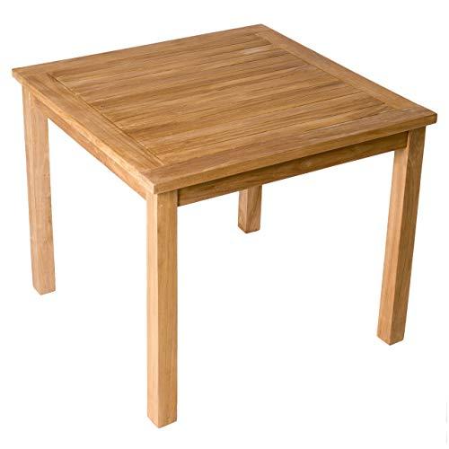 Divero Esstisch Gartentisch Balkontisch - Holztisch Teak für den Innen- und Außenbereich – quadratisch witterungsbeständig massiv behandelt – 90 x 90 cm