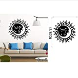 zoomingmingli Wandaufkleber Crescent Sun Und Mond Ethnische Sonnenschein Wandtattoo Kunst Aufkleber Vinyl Wandtattoo Removable Wandbild