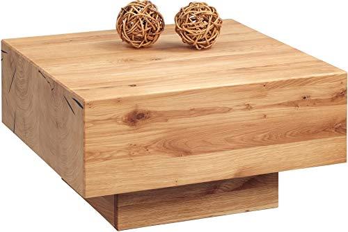 HomeTrends4You 249822 Couchtisch Ivo 1, quadratisch, Echtholz Wildeiche massiv geölt, 65x65cm, Höhe 35cm