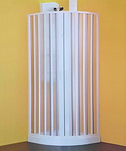 Halfronde douchecabine Sfera, in grootte verstelbaar van 90 cm 70, cabine in het midden van PVC met magneetsluiting.